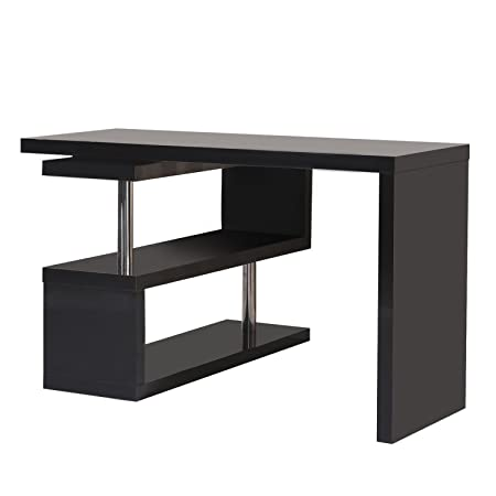 HomCom Mesa de Oficina para Ordenador PC - Color Negro - MDF y ...