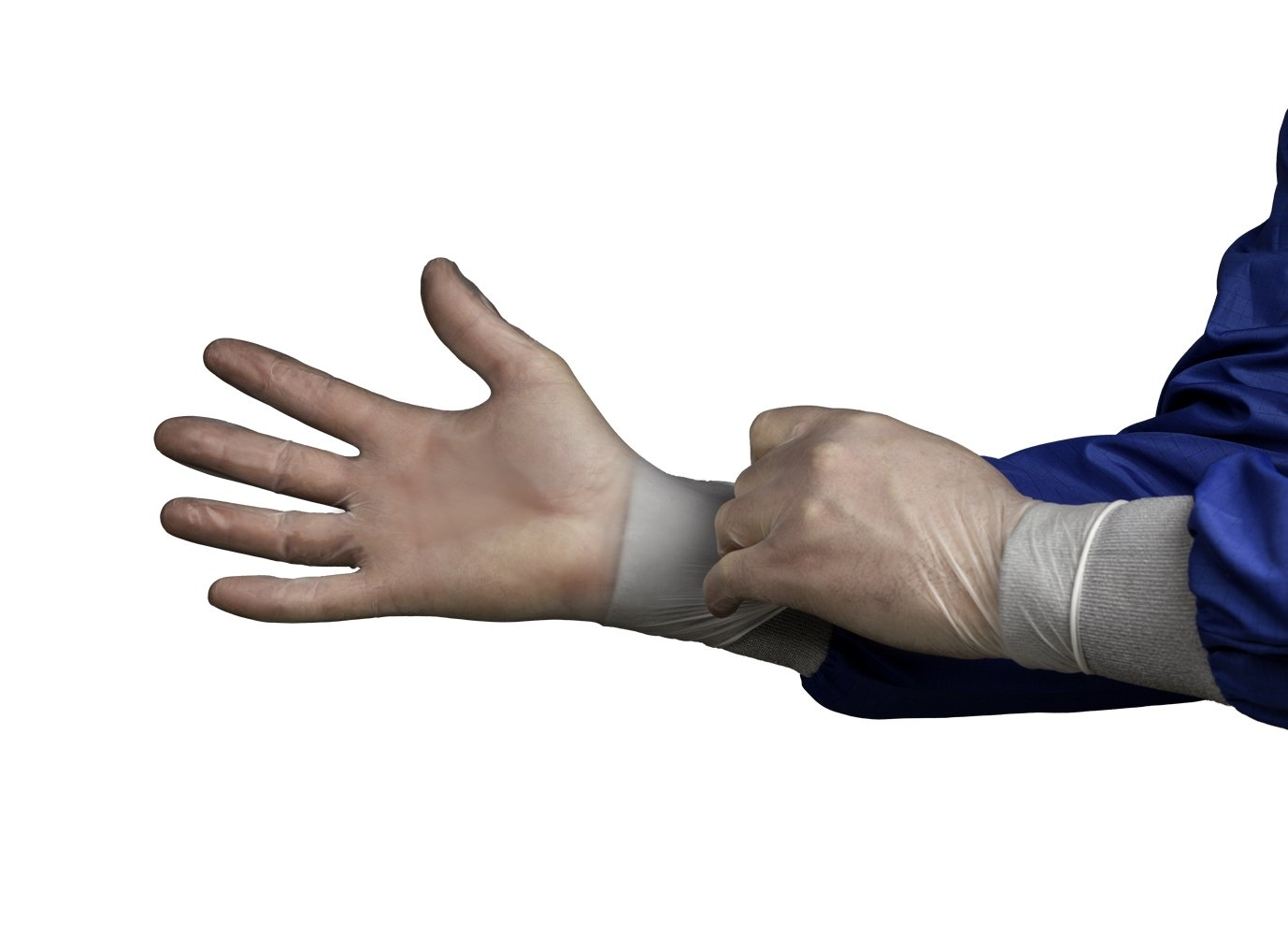 HandPRO 552 Hourglass 550 Series Natural Vinyl Controlled Environment Glove, Clean Room, Beaded Cuff, Powder Free, 240 mm Length, 0.11 mm Thick, Medium, Clear (Pack of 1000)