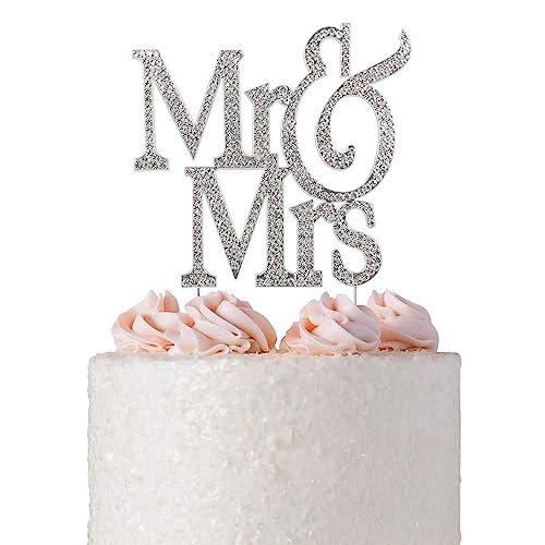 mr and mrs cake topper premium crystal bling rhinestone diamond wedding anniversary bridal shower
