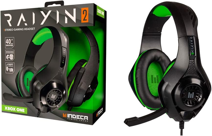 indeca BUSINESS Cascos Gaming Xbox One Edition | Headset para Gamers: Auriculares ergonómicos con Sonido estéreo y micrófono | Cable de 1,5 Metros con Entrada Universal de 3.5mm