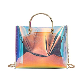042d39de08 Laser Transparent Jelly Bag Tote Candy Colors Crossbody Bag PVC Translucent  Waterproof Shoulder Bags Lady Shopping