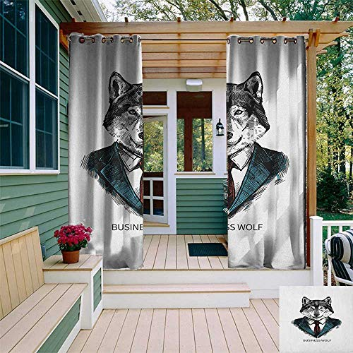 leinuoyi Wolf, Outdoor Curtain Panels Set of 2, Business Animal in Suit with Jacket Shirt and Tie Sketch Style Hipster Print, Balcony Curtains W96 x L96 Inch Teal Vermilion Black