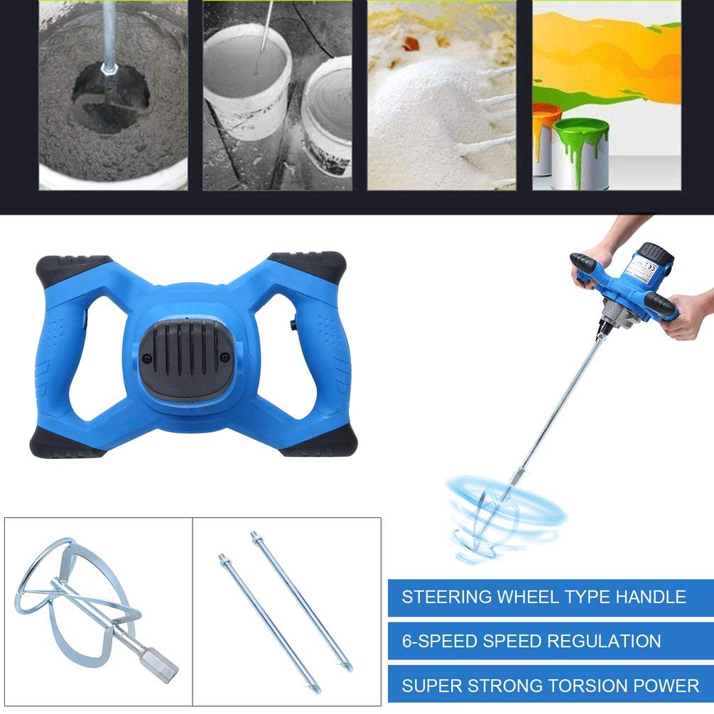 Tumdem 1800W Electric Mortar Mixer Hand-Held Plaster Mixing Paint Stirrer with 2 PCS Mixer Pole Electric Cement Mortar UK Socket