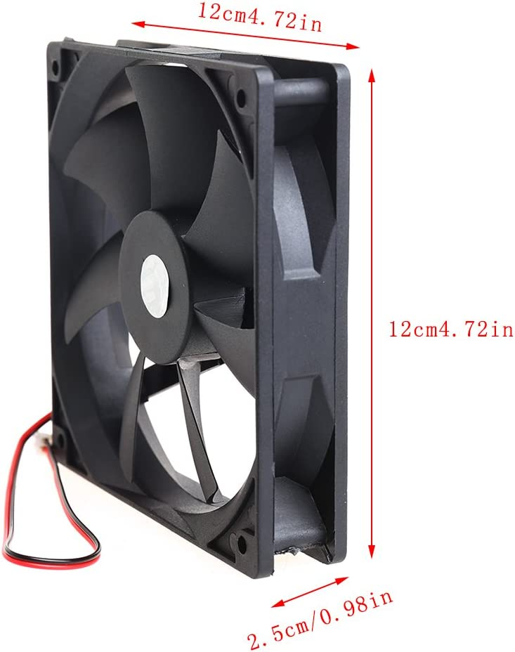 Fanct 12cm High Speed Computer DC 12V 2Pin PC Case System Hydraulic Cooling Fan 12025