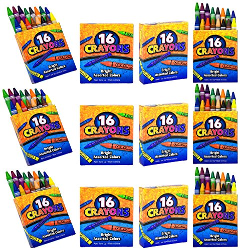 (4E's Novelty 192 Crayons, 12 Packs of 16 Crayons for Kids Bulk -Non-Toxic- 16 Colors in Each Crayon Box, Premium Crayons, Great Party Favor, Arts and Crafts Supplies for Toddlers, Goodie Bag Filler.)