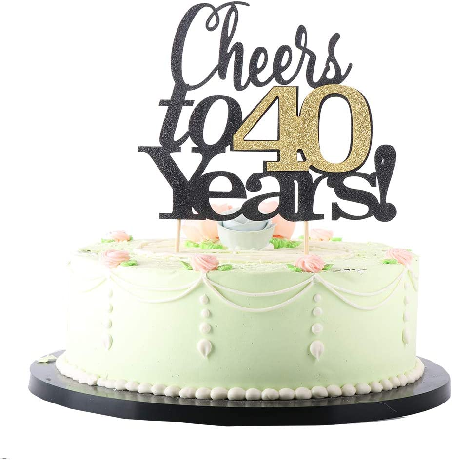 LVEUD Black English, golden numbers Cheers to 40 Years Happy Birthday Cake Topper -Wedding,Anniversary,Birthday Party Decorations (40th)