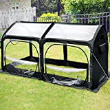 Quictent Pop up Greenhouse Updated Extra-thick Cover Outdoor Garden Flower Mini Green House 4 Doors & 2 Vents 98''x49''x53'' Black