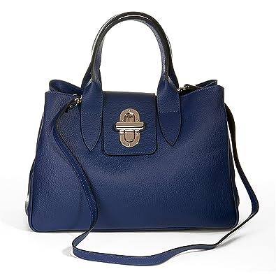 7874a6568363d MIO Henkeltasche Handtasche Damen Tragetasche Frauen Tasche echt Leder  dunkelblau