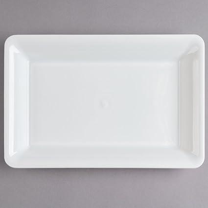 Platter Pleasers Juego de 3 bandejas rectangulares de plástico Duro para Servir Platos – Blanco –