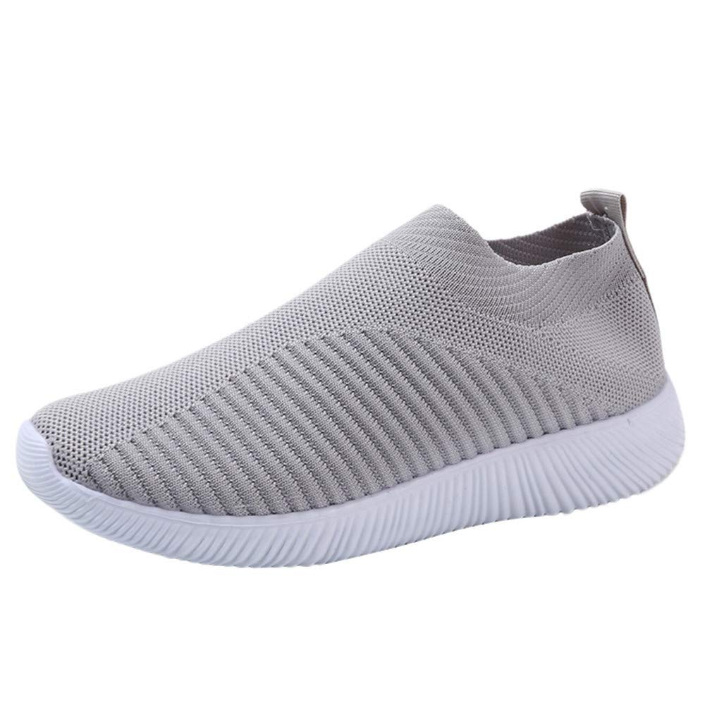 LIM&Shop ❤ Women Mesh Slip-On Casual Walking Breathable Work Out Sneakers Men Walking Shoes Spors Shoes Lightweight Grey