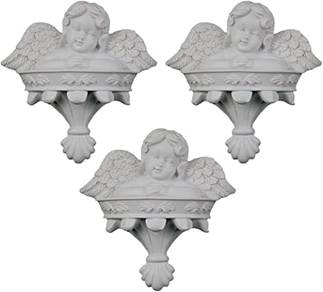 Angel with Wings Poly Resin Figurine Plaque Mega Crafts Set of 3 White