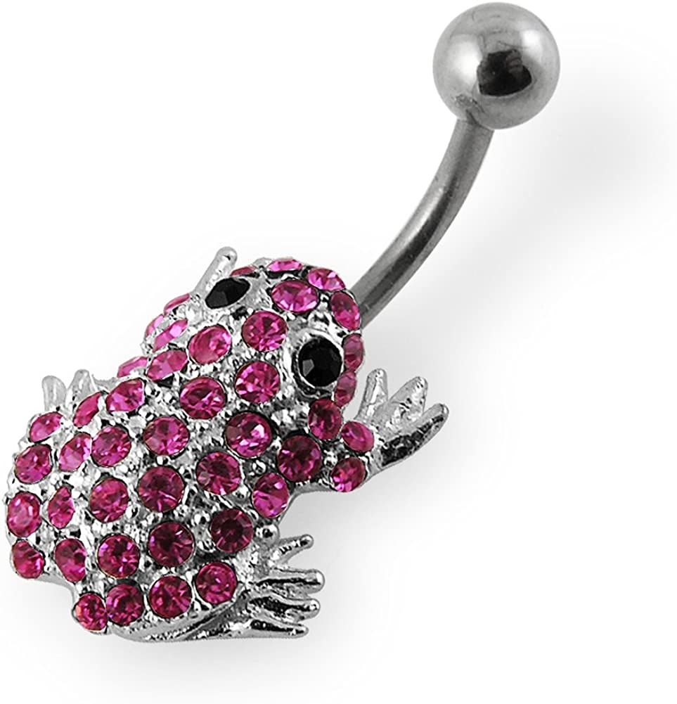 Fancy CZ Gemstone Multi Crystal Frog 925 Sterling Silver with Grade 23 Solid Titanium Belly Button Ring