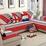YJBear Classical European Style USA Flag Pattern Printed 100% Cotton Red Red Stripe Quilted Sofa Furniture Protector Non-Slip Rectangle Twill Sofa Slipcover Red 27.5'' X 59''(1 PCS)