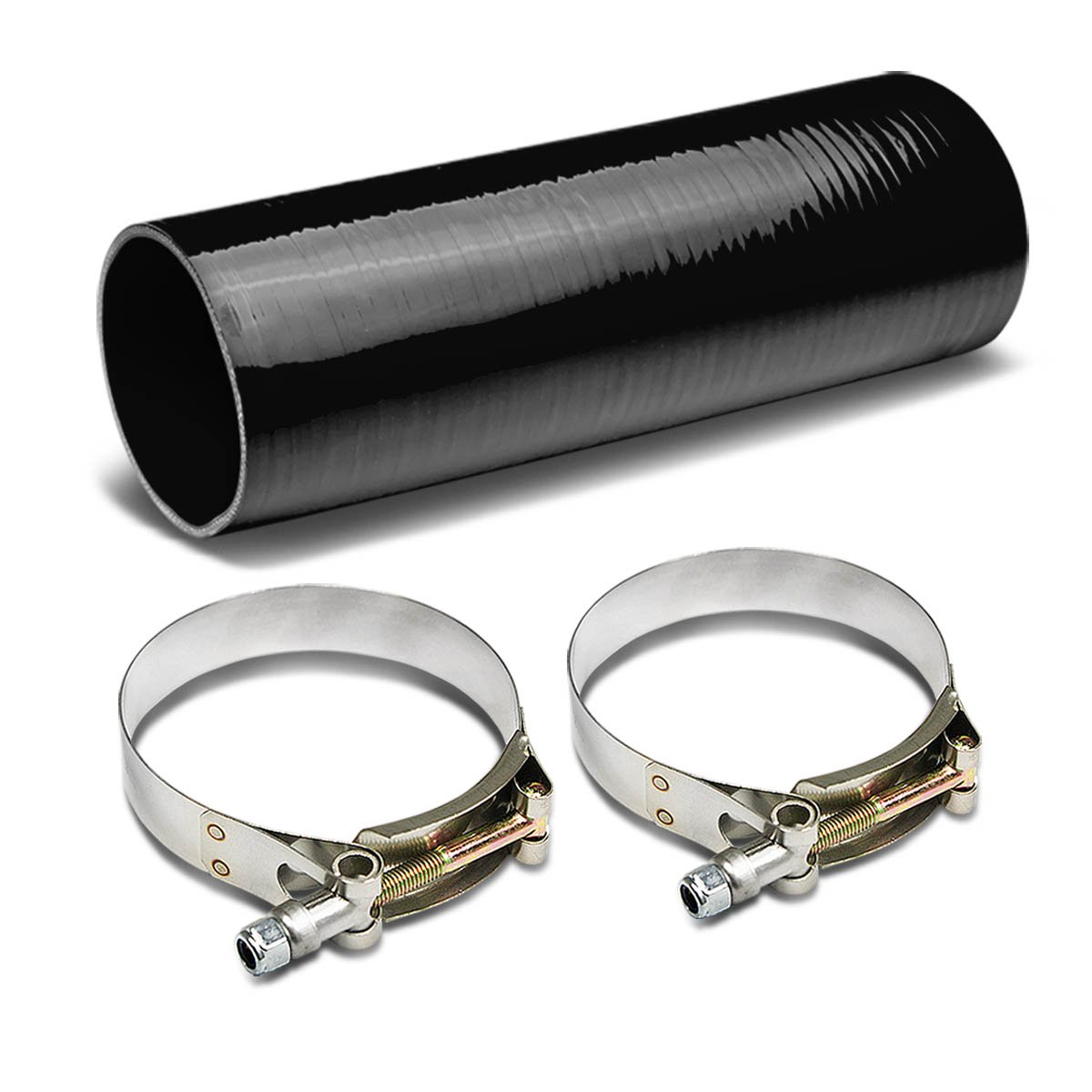Black 2.75 to 2.75 inches 12 inches Long Straight 4-Ply Turbo//Intake//Intercooler Piping Silicone Coupler Hose+T-Clamp