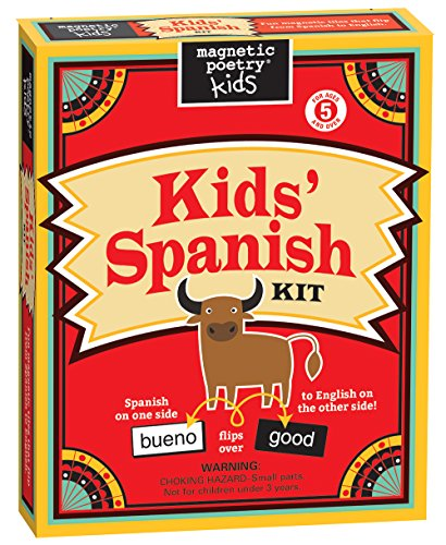 School Age Refrigerator - Magnetic Poetry Kids' Spanish Kit - Ages 5 and Up - Words for Refrigerator - Write Poems and Letters on the Fridge - Made in the USA