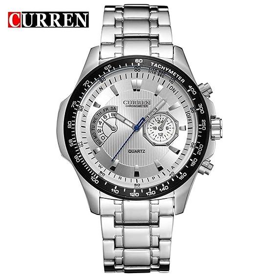 Curren 8020 Business Reloj de Cuarzo para Hombres Reloj de Pulsera de Acero Inoxidable Reloj de
