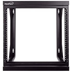 """NavePoint 9U Wall Mount IT Open Frame 19"""" Rack with Swing Out Hinged Gate Black"""