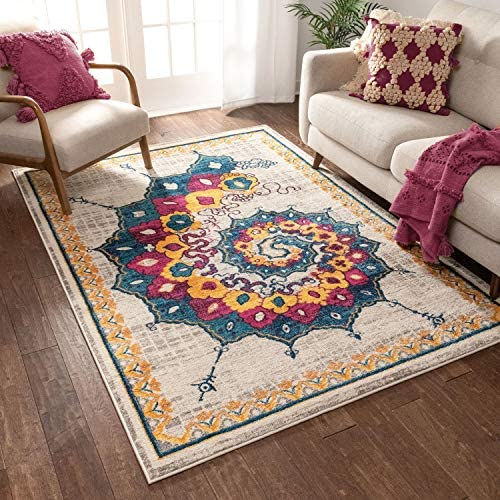 Calico Modern Abstract Floral Saree Bright Colors Vintage Modern 8×10 7'10″ x 9'10″ Area Rug Blue Fuschia Purple Yellow Beige Area Rug