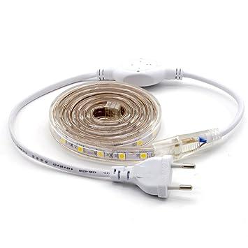 ALOTOA Striscia LED, 1M 60 LEDs/M SMD 5050 bianco freddo 6000K, 230V ...