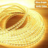 AccOED 164ft Flexible LED Strip Lights, 3000 Units SMD 5050 LEDs, 3000K Warm White, 720lm/m, 110-120 V AC, Waterproof IP65, Accessories Included, LED Rope Lights, LED Tape, Pack of 164ft/50m