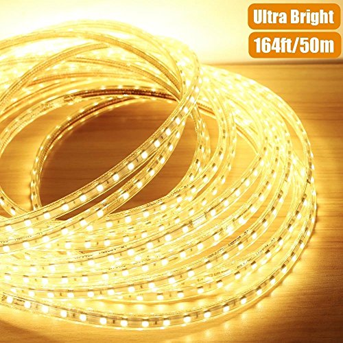 AccOED 164ft Flexible LED Strip Lights, 3000 Units SMD 5050 LEDs, 3000K Warm White, 720lm/m, 110-120 V AC, Waterproof IP65, Accessories Included, LED Rope Lights, LED Tape, Pack of 164ft/50m by AccOED