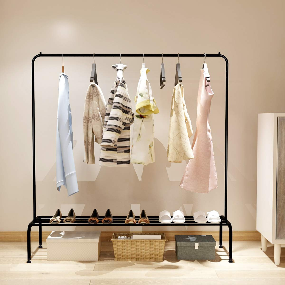 Metal Garment Rack Heavy Duty Indoor Bedroom Clothes Coat Stand Shoes Rack with Top Rod and Lower Storage Shelf Clothes Rack with 1-Tier Shelves Black