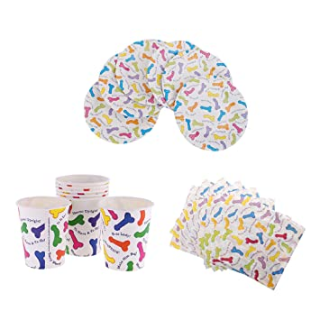 Dovewill Pack of 20 Willy Penis Printed Paper Cup Plates Napkins Set for Hen Party Bachelor  sc 1 st  Amazon.com & Amazon.com: Dovewill Pack of 20 Willy Penis Printed Paper Cup Plates ...