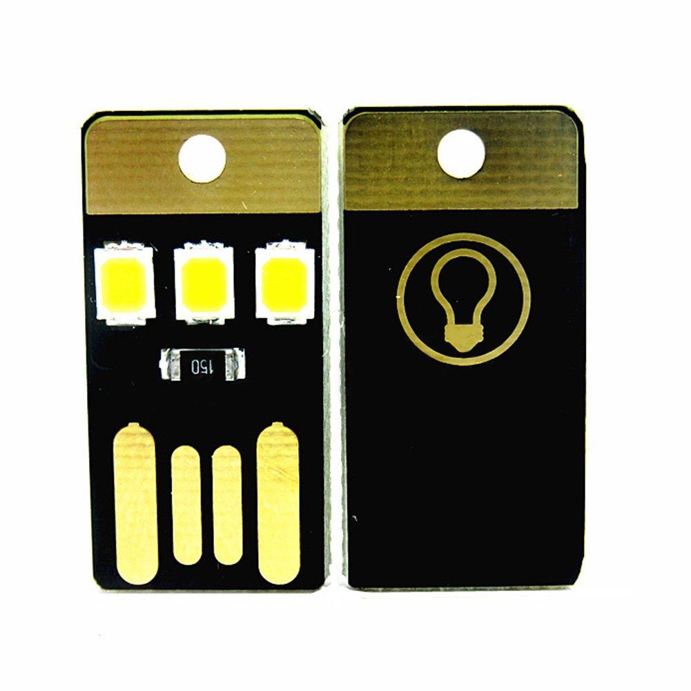 GETMORE7 Mini USB Power LED Light, 2Pcs Mini Ultra-Thin Portable USB LED Light Pocket Card Lamp Mobile Power Camping Laptop