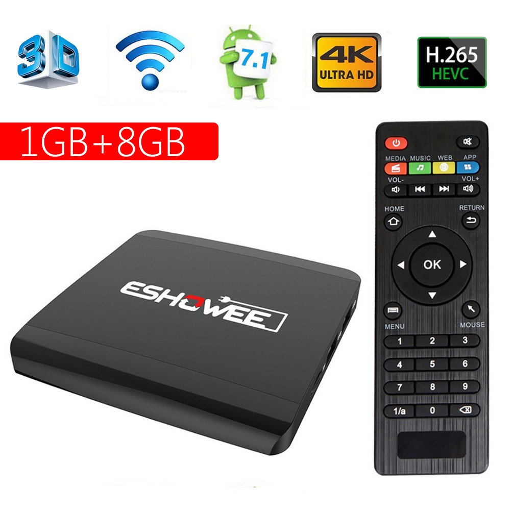 ESHOWEE Android 7.1 TV Box R1 Amlogic S905W Quad-core 64 Bit DDR3 1GB 8GB 4K UHD WiFi and LaN VP9 DLNA H.265 by ESHOWEE