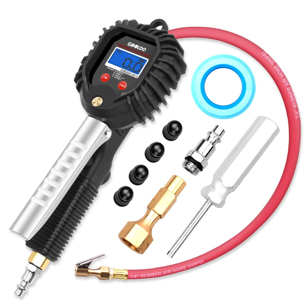 GOOLOO Upgraded Digital Tire Pressure Gauge, Heavy Duty 255 PSI Tire Inflator and Compressor Accessories with Leakproof Air Chuck, Quick Connect Plug, 0.1 Display Resolution for Car Truck Motorcycle by GOOLOO