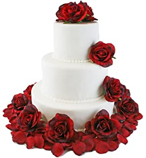 Amazon Com Ivory Silk Rose Cake Flowers Reception Decoration