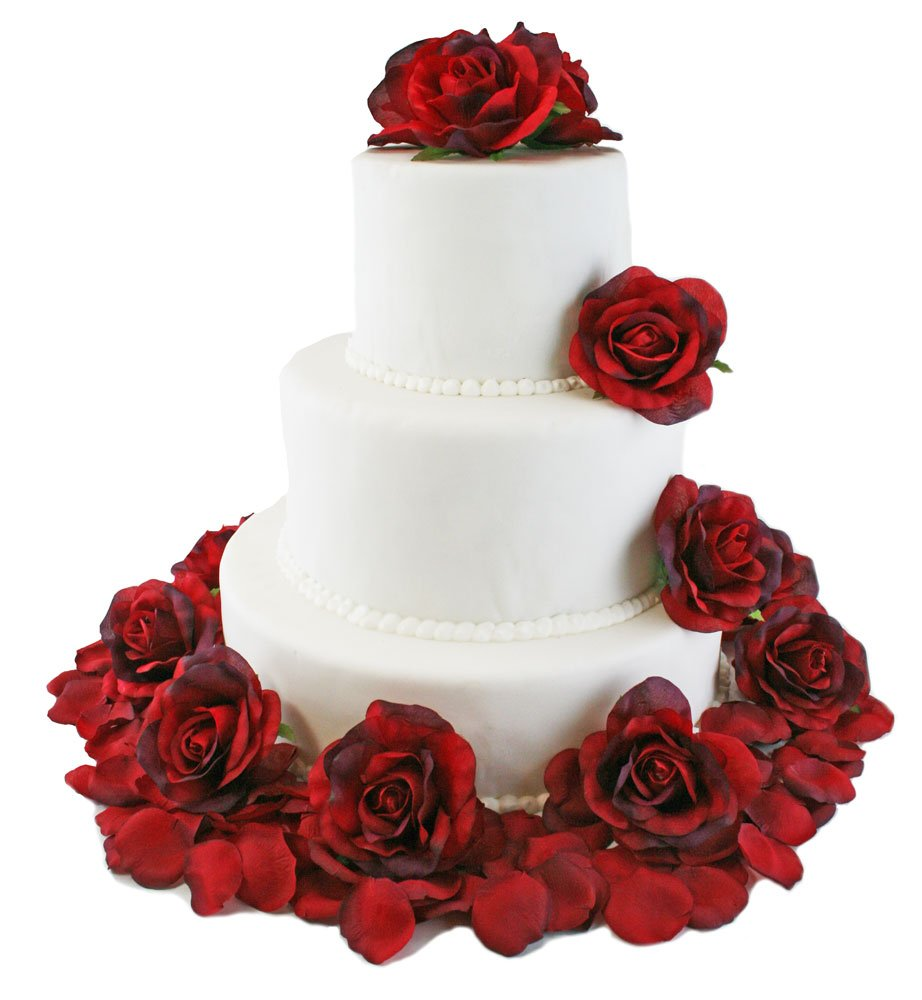 Amazon.com: Red Silk Rose Cake Flowers - Reception Decoration: Home ...