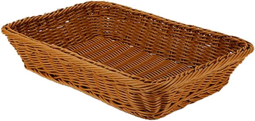 NYKK Bread Baskets Rattan Basket Food Bread Basket Fruit Basket Rattan Bread Box Storage Basket Round Tray Picnic Snack Basket Dark Brown Tabletop Food Serving Basket (Color : B, Size : M)