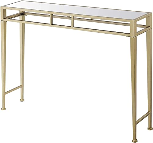 Convenience Concepts Hall Console Table, Mirror Top Gold Frame