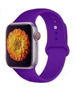 Tounique - Correa de Reloj para Apple Watch, Correa de Repuesto de Doble Color Perforada para Apple Watch Series 3/2/1/Sport Edition 14 Colores (38MM, Morado Oscuro)