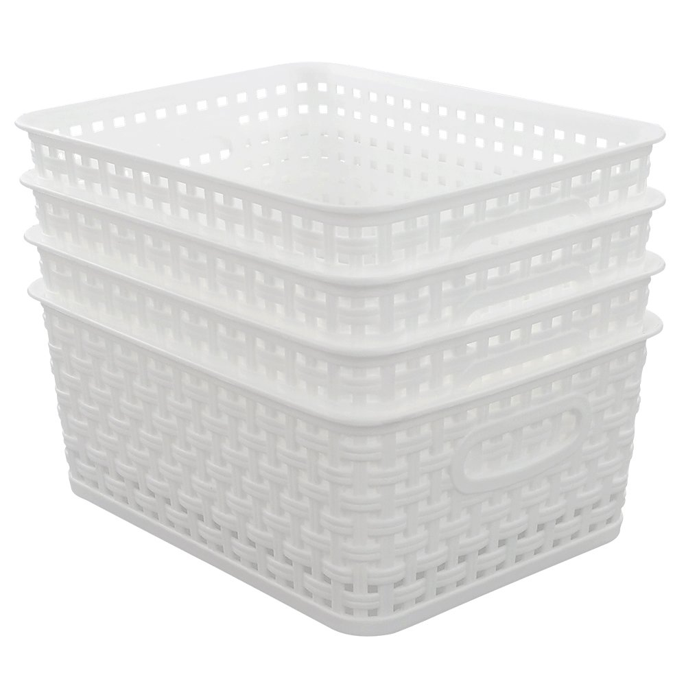 Lesbin Plastic Storage Weave Baskets/Bins, 4-Pack, White Lesbiner