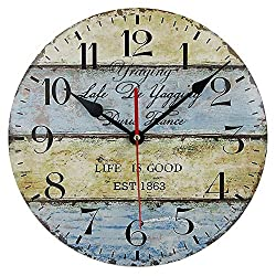 Timelike Wood Wall Clock, 12-Inch Colorful Quiet Non-Ticking Silent Light Bedroom Kitchen Living Room Wood Wall Clock Gift Home Decorative (Type 2)