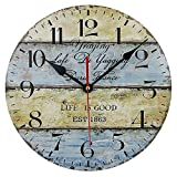 Cheap Timelike Wood Wall Clock, 12-Inch Colorful Quiet Non-Ticking Silent Light Bedroom Kitchen Living Room Wood Wall Clock Gift Home Decorative (Type 2)