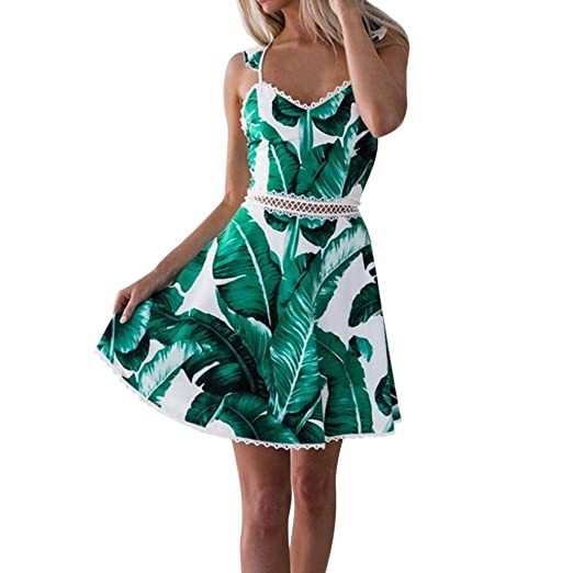 Backless Mini Dresses for Women Lace Leaves Printing Sleeveless Princess Dress (S, Green)