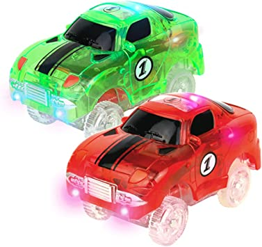 Track Cars BOVN Light-Up Fastest Speed Tracks Cars Replacement With 5 Flashing LED Lights Race Car Toy Racing Cars Track Accessories Compatible with Most Tracks 4 Packs 5 LED Lights