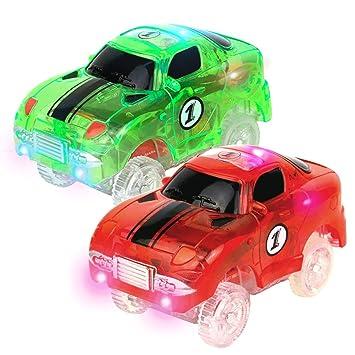 Symiu Circuito Coches Juguete Niño Vehiculos 2 Carrera Track Race Car Brillar Accesorios de Pista para Niño 3 4 5: Amazon.es: Juguetes y juegos