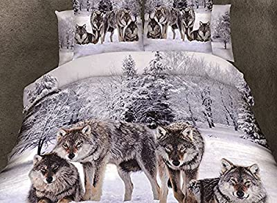 Wowelife Wolf Bedding 3D Dovet Cover Sets 100% Cotton 4 Pieces Four Wolf Animal White Snow Tree Winter Prints Dovet Cover Flat Sheet Pillow Cases (Comforter Not Included)