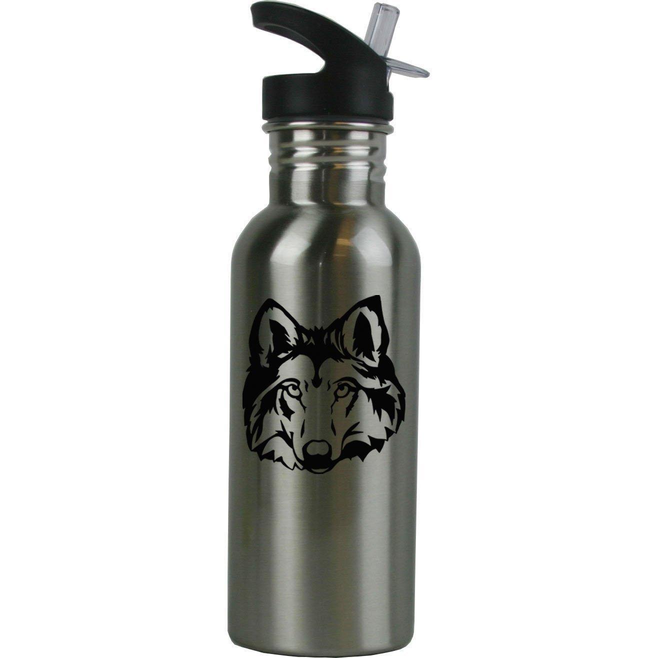 Personalisierte Custom Wolf/Husky Kopf Edelstahl Wasser Flasche mit Trinkhalm Top 20 Unze Sport Wasser Flasche anpassbare