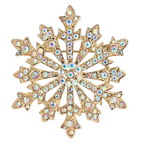 EVER FAITH Women's Austrian Crystal Winter Snowflake Brooch Iridescent Clear AB Gold-Tone