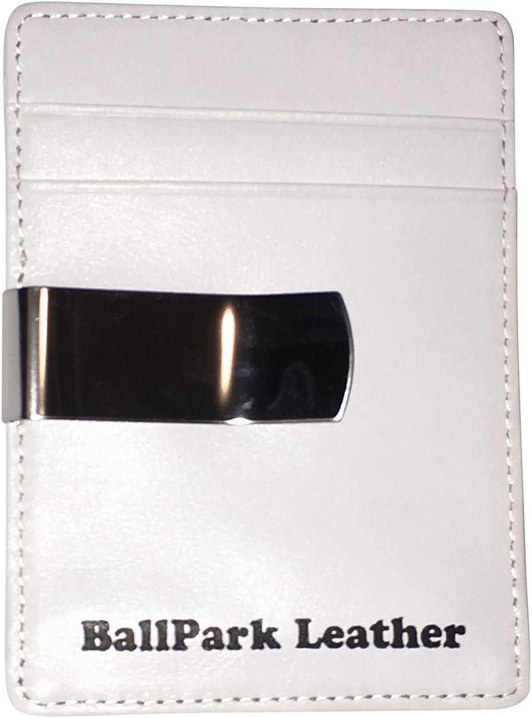 BallPark Leather White Leather Baseball Seam Money Clip Wallet
