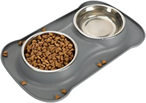 Tugia Pet Food & Water Bowls - No Spill Non Skid Silicone Mat & Double Stainless Steel Bowls for Cats & Puppies (S, Grey)