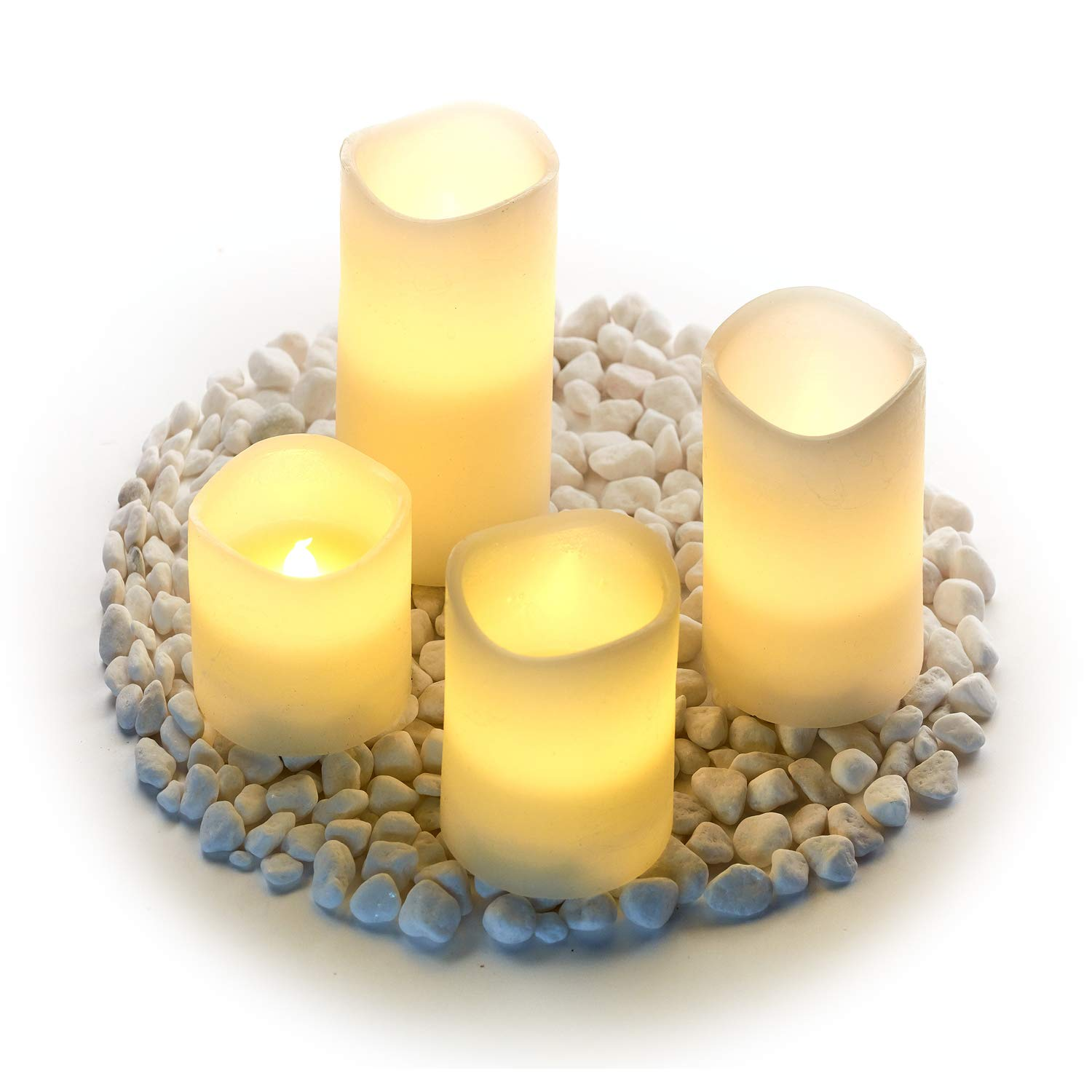Hayley Cherie Textured Real Wax Flameless Candles with Timer Set of 4 LED Candles 3 4 5 6 inches Tall Flickering Amber Flame Battery Operated Pillar Candles – Large Unscented