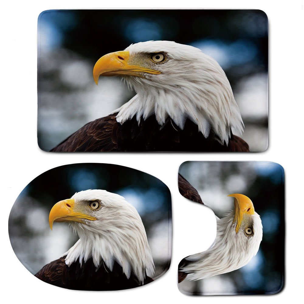 3 Piece Bath Mat Rug Set,Eagle,Bathroom Non-Slip Floor Mat,Photo-of-the-Head-of-Freedom-Symbol-in-America-with-Blurred-Background-Decorative,Pedestal Rug + Lid Toilet Cover + Bath Mat,Dark-Brown-Marig