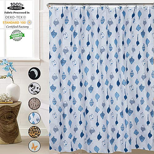 - ROYACOR Fabric Shower Curtain with 12 Polyresin Hooks, Water-Repellent Rustproof Bath Curtain, 72x72 Non Toxic 100% Durable Polyester Shower Curtain Liner, Machine Washable,Easy to Install-Fish