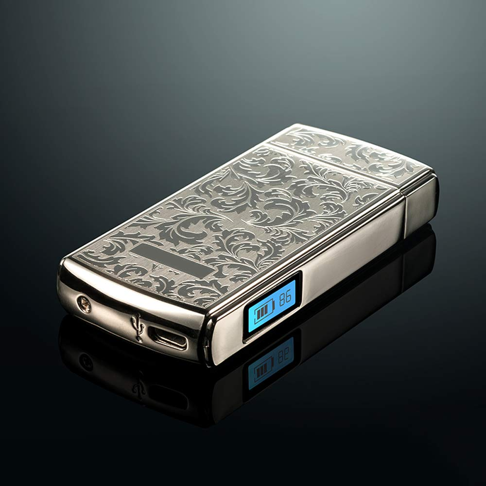 MC-BLL-Electronic lighter Antivento Ultraleggero da Uomo con Doppio acciarino di Ricarica USB